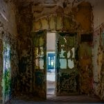Paint peeling of the walls inside one of the Beelitz kitchen buildings