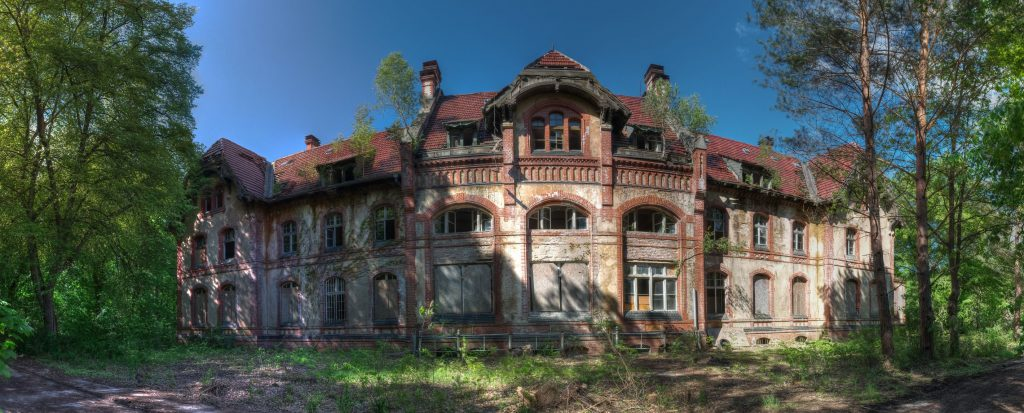 Outdoor view of a panorama of one of the Beelitz kitchen buildings