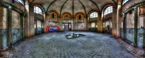 Panorama of the central bathing room of the Beelitz baths