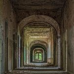 View through a hallway of the Beelitz hospital ruins