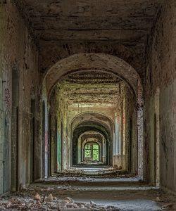 View through a hallway of the Beelitz hospital ruins
