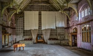 View from the stage from the rear end of the hall inside the Whitney-Houston-House of Beelitz Heilstätten