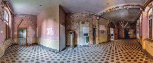 180° panorama of a hallway in the Whitney-Houston-House of Beelitz Heilstätten