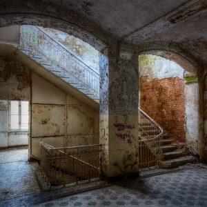 Central stairway in the Whitney-Houston-House, Beelitz Heilstätten