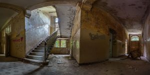 Panorama of a corridor in one of the Beelitz hospital buildings