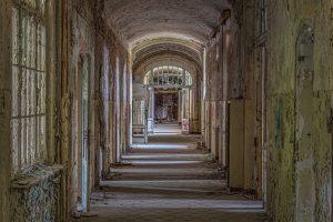 Long corridor of a Beelitz hospital building