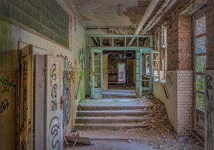 Corridor in the basement of the Beelitz surgery