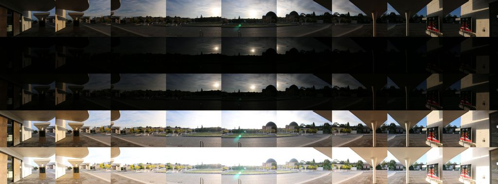 Collage of the individual images used for an HDR panorama