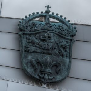 Emblem of the city of Darmstadt on top of the mall Luisencenter