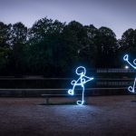 Demonstration of multiple light stick figures on benches