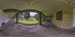Pano of footway between school buildings (vibrant style)