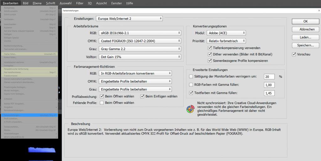 Adobe Photoshop color profile settings