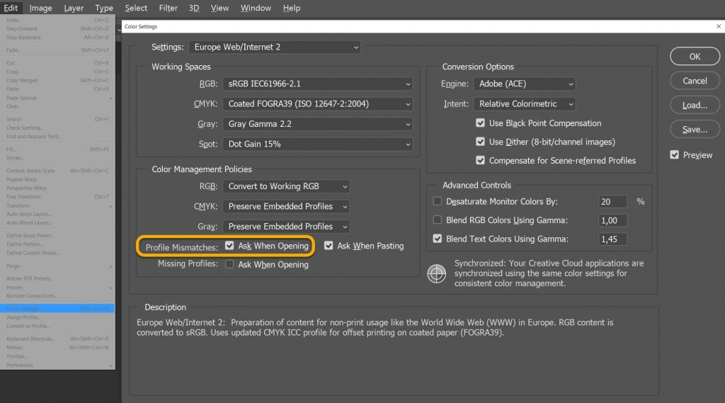 Adobe Photoshop color profile settings